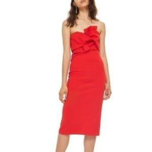 Topshop Bow Twist Textured Midi Dress US 12